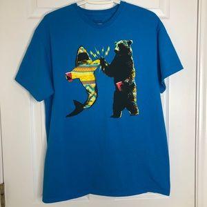 Spencer's Funny Shark & Bear T-Shirt Blue Large